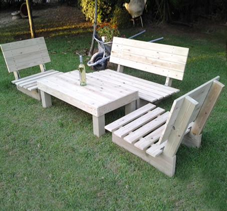 פינת זולה קלאסית מעץ אורן איכותי, הכוללת ספסל זוגי, 2 ספסלי יחיד ושולחן - תמונה 6