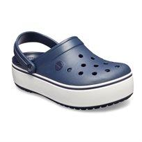 Crocs - כפכפים בצבע כחול עם סוליית פלטפורמה מוגבהת