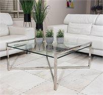 שולחן לסלון בשילוב זכוכית ובסיס מתכתי מרובע בעיצוב אלגנטי