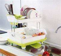 מתקן חכם לייבוש כלים בעל שתי קומות ומרזב מתכוונן לניקוז הטיפות ולשמירה על ניקיון המטבח