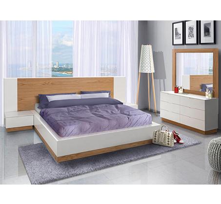 חדר שינה כולל מיטה זוגית, שתי שידות, קומודה ומראה צבע לבן מט