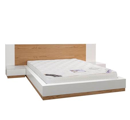 חדר שינה כולל מיטה זוגית, שתי שידות, קומודה ומראה עשוי עץ מלא משולב לבן מט דגם ווילג' LEONARDO - תמונה 2