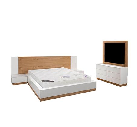 חדר שינה כולל מיטה זוגית, שתי שידות, קומודה ומראה עשוי עץ מלא משולב לבן מט דגם ווילג' LEONARDO - תמונה 3