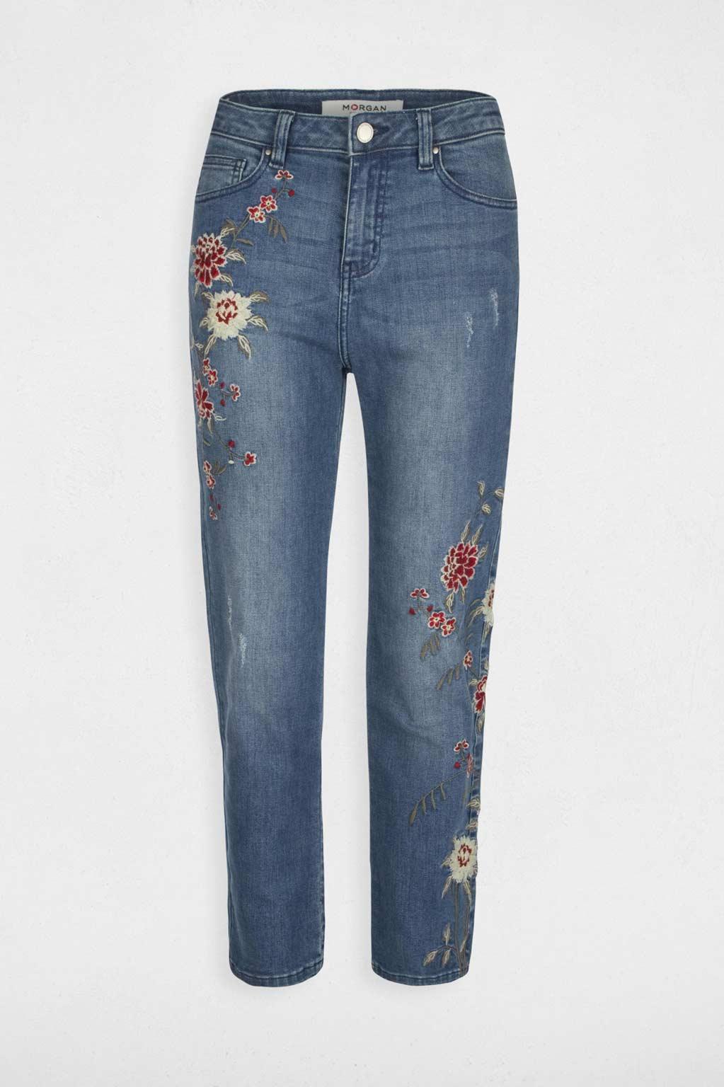 מכנסי ג'ינס רקומים MORGAN