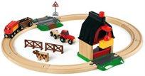 סט רכבת חווה מעץ עם טרקטור ומנוף הרמה 20 חלקים