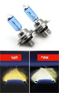דיל מדליק! סט תאורת הלוגן קדמית לרכב דמוי קסנון, ההופך את האור מצהוב חיוור ללבן/כחול נקי, רק ₪39!