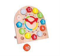 שעון לילדים עשוי עץ Bgifts ללימוד מספרים ושעון