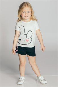 חליפת טריקו בהדפס ארנב לבנות Kiwi בצבע לבן/שחור