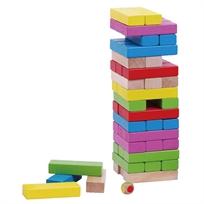 50 מלבני בניה מעץ מלא + 2 קוביות