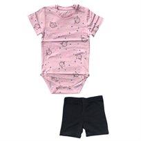 Minene חליפת בגד גוף (6-24 חודשים) - חד קרן ורוד