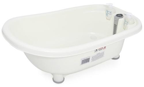 אמבטיה לתינוק עם מד טמפרטורה, מושב פנימי וכלים לסבון דגם ירדן - אפור
