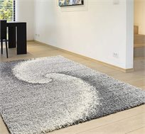 שטיח שאגי מעוצב אפור קרם עשוי 100% סיבי פוליפרופילן