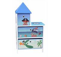 ארגונית מגירות רחבה מעוצבת לחדרי ילדים ב-2 צבעים לבחירה