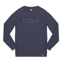 REPLAY חולצה ארוכה// crew neck T shirt NAVY