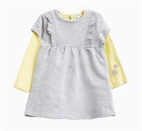 סט חולצה ושמלה לתינוקות וילדות בצבעי אפור וצהוב
