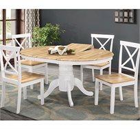פינת אוכל עגולה HOME DECOR כולל 4 כיסאות מעץ מלא דגם SHIRI