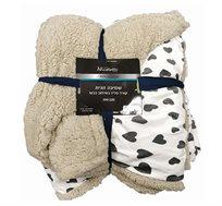שמיכה זוגית קורל פליז בשילוב כבש