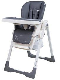 כסא אוכל מפואר לתינוק דגם גרנד Grand בריפוד דמוי עור יוקרתי וגלגלים נשלפים - אפור