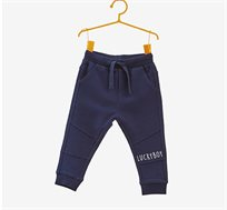 מכנסי כותנה עם כיתוב לילדים בצבע כחול