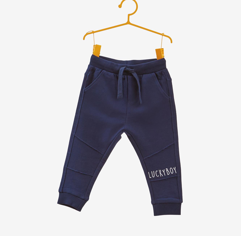 מכנסי כותנה OVS עם כיתוב לילדים - כחול