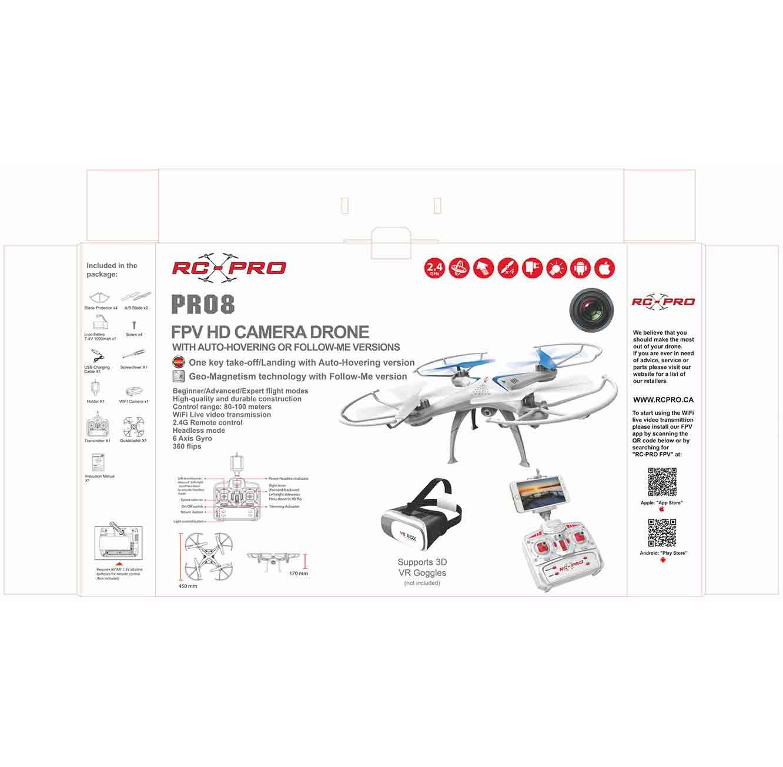 רחפן PRO 8 עם 4 ערוצים על שלט בעל טכנולוגית 2.4G ומייצב מבוסס ג'יירו חיבור WIFI מצלמת HD מובנית - משלוח חינם - תמונה 2