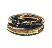 צמיד מתלפף נחשים בציפוי זהב 24 קראט עם עור ירוק