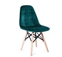 כיסא לפינת אוכל נוח מעוצב בריפוד בד קטיפה במגוון צבעים לבחירה