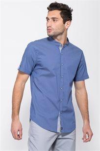 חולצת אריג לייקרה עם צווארון סיני