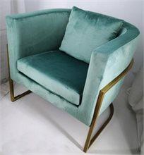 כורסא מעוצבת דגם דניאל מבד קטיפה איכותי צבע מנטה רגליים זהב
