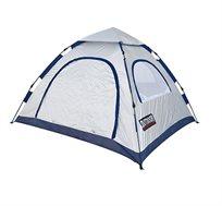 אוהל ל-4 אנשים עם מנגנון פתיחה מהירה ללא צורך בהשחלת המוטות ובבנייתם