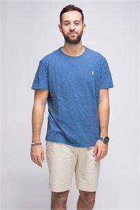 חולצת טישרט בצבע כחול ג'ינס חלקה צווארון עגול POLO RALPH LAUREN