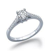 """טבעת אירוסין """"אשלי"""" זהב לבן 0.61 קראט"""
