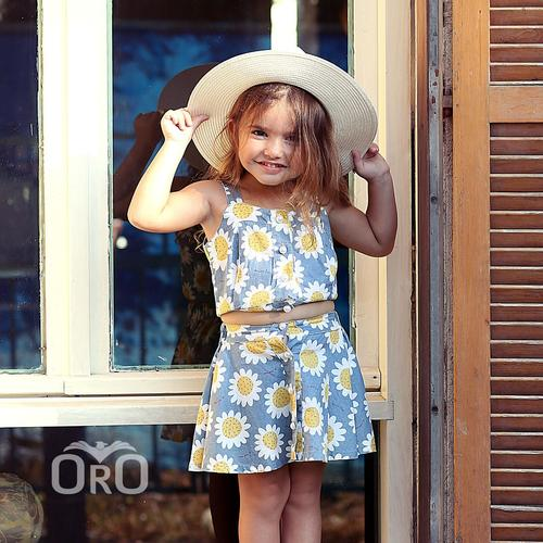 חליפת חצאית Oro לילדות (מידות 6 חודשים-4 שנים) פרחוני