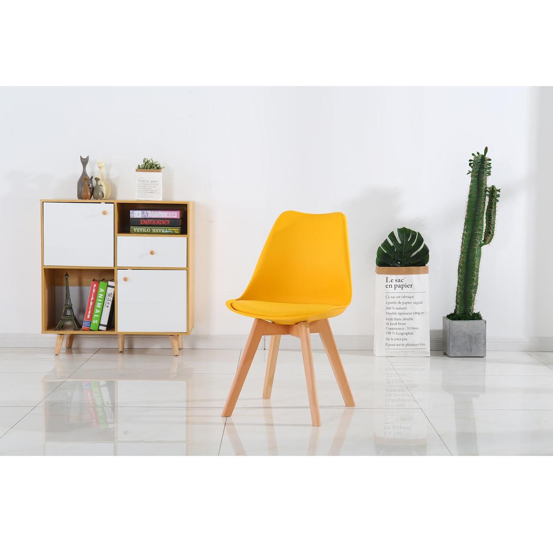 כיסא מודרני וצעיר לפינות אוכל וחדרי עבודה בריפוד דמוי עור עם רגלי עץ אורן מלא במבחר גוונים  - תמונה 8
