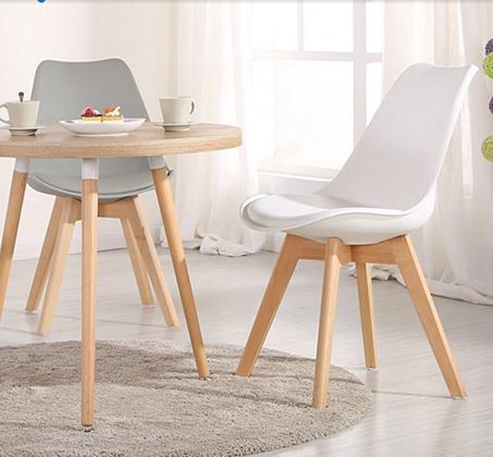 כיסא מודרני וצעיר לפינות אוכל וחדרי עבודה בריפוד דמוי עור עם רגלי עץ אורן מלא במבחר גוונים  - תמונה 6