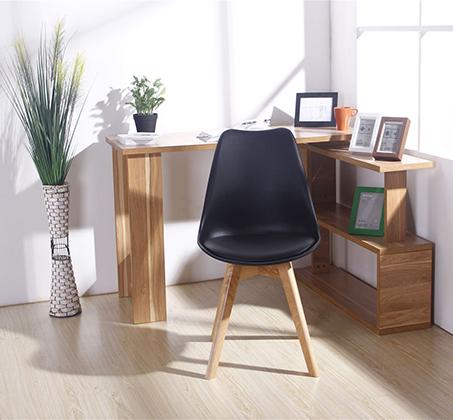 כיסא מודרני וצעיר לפינות אוכל וחדרי עבודה בריפוד דמוי עור עם רגלי עץ אורן מלא במבחר גוונים  - תמונה 2