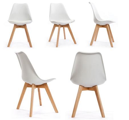 כיסא מודרני וצעיר לפינות אוכל וחדרי עבודה בריפוד דמוי עור עם רגלי עץ אורן מלא במבחר גוונים  - תמונה 7