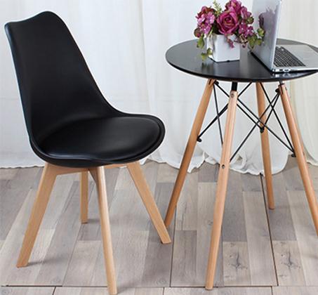 כיסא מודרני וצעיר לפינות אוכל וחדרי עבודה בריפוד דמוי עור עם רגלי עץ אורן מלא במבחר גוונים  - תמונה 5
