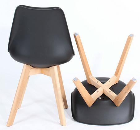 כיסא מודרני וצעיר לפינות אוכל וחדרי עבודה בריפוד דמוי עור עם רגלי עץ אורן מלא במבחר גוונים  - תמונה 3