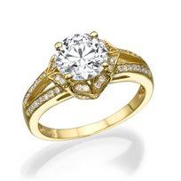 """טבעת יהלומים זהב צהוב """"גבריאלה"""" בעיצוב וינטאג'"""