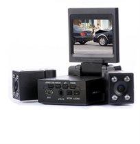 מצלמת רכב דו כיוונית לצילום פנים הרכב והדרך עם 2 עדשות מתכווננות + צילום בחשכה