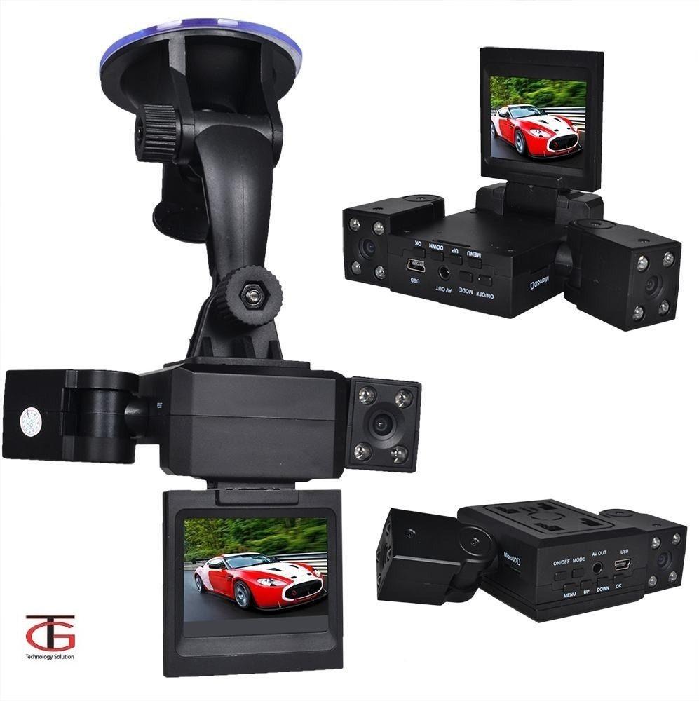 מצלמת רכב דו כיוונית לצילום פנים הרכב והדרך עם 2 עדשות מתכווננות +כרטיס זיכרון 16GB מתנה - משלוח חינם - תמונה 2
