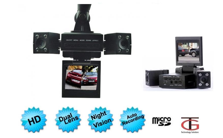 מצלמת רכב דו כיוונית לצילום פנים הרכב והדרך עם 2 עדשות מתכווננות +כרטיס זיכרון 16GB מתנה - משלוח חינם - תמונה 4