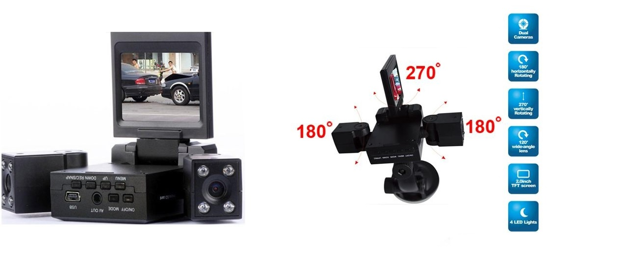 מצלמת רכב דו כיוונית לצילום פנים הרכב והדרך עם 2 עדשות מתכווננות +כרטיס זיכרון 16GB מתנה - משלוח חינם - תמונה 5