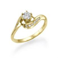 טבעת אירוסין זהב צהוב סינתייה 0.45 קראט בשיבוץ 13 יהלומים