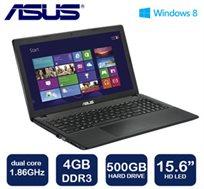 """מחשב נייד """"15.6 מבית ASUS עם מעבד dual core, דיסק קשיח 500GB, זיכרון 4GB ו-WIN8"""