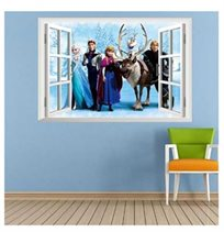 מדבקת קיר מעוצבת בגודל 60*40 בהדפס של חלון עם גיבורי ''פרוזן'' עשוייה ויניל איכותי