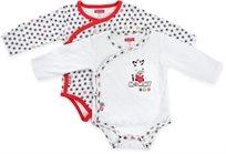 זוג בגדי גוף לתינוק כותנה טריקו 0-3 חודשים - לבן אדום