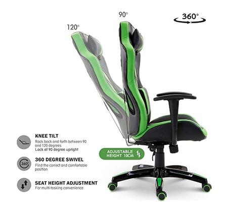 כיסא גיימרים אורתופדי עשוי דמוי עור עם מבנה אורגמי המקנה תמיכה לכל הגוף  - משלוח חינם - תמונה 2