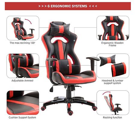 כיסא גיימרים אורתופדי עשוי דמוי עור עם מבנה אורגמי המקנה תמיכה לכל הגוף  - משלוח חינם - תמונה 6